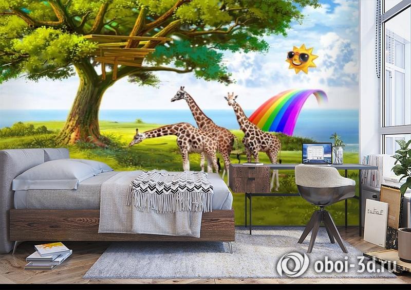 3D Фотообои «Жирафы на лужайке» вид 5