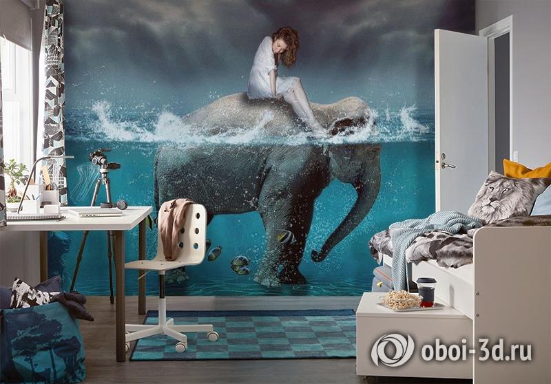 3D Фотообои «Девушка на слоне» вид 4