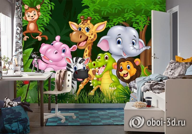 3D Фотообои «Рисунок в детскую. Джунгли зовут» вид 4