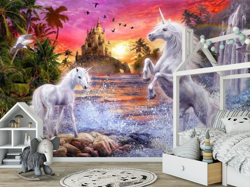 3D Фотообои «Белые единороги на фоне замка» вид 7