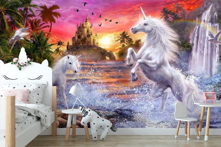 3D Фотообои «Белые единороги на фоне замка» вид 5