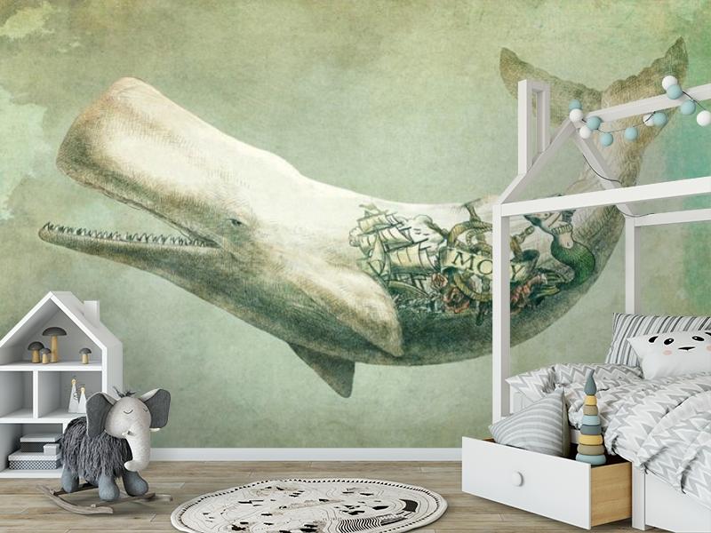 3D Фотообои «Сказочный кит» вид 7