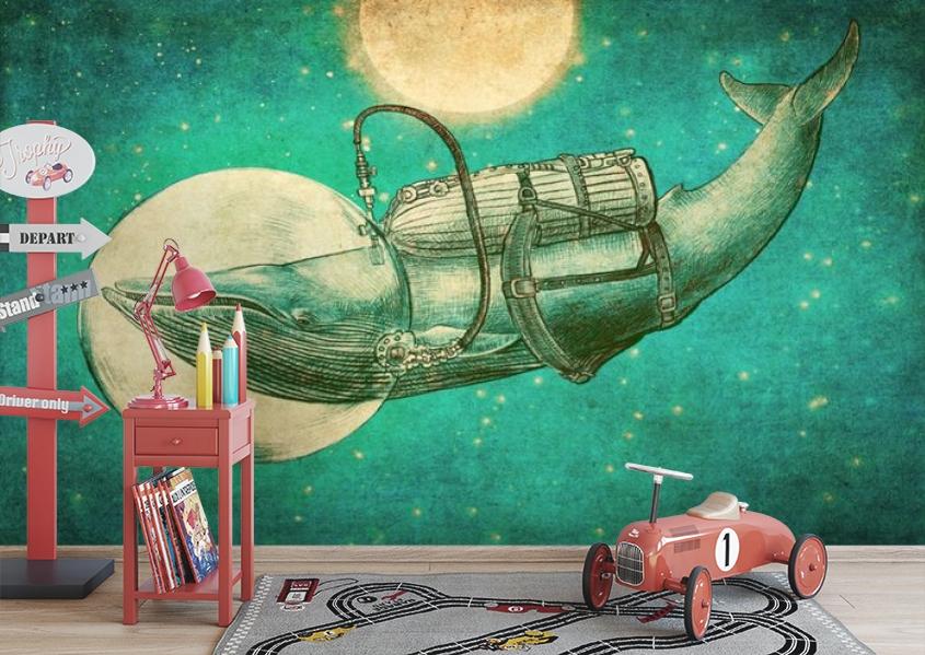 3D Фотообои «Кит. Рисунок» вид 3