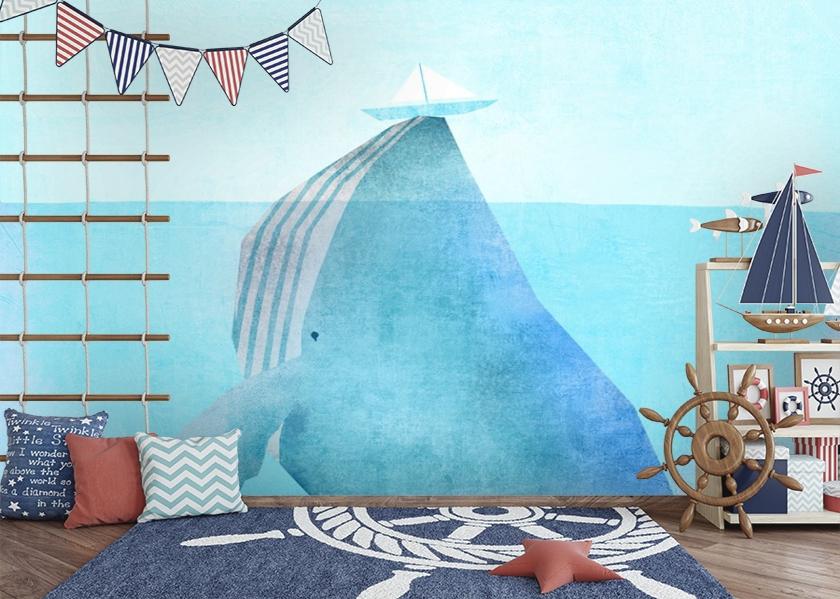 3D Фотообои «Кит и кораблик» вид 2