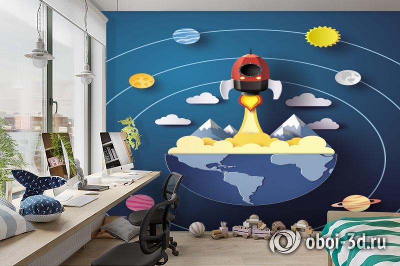 3D Фотообои «Взлет ракеты» вид 3