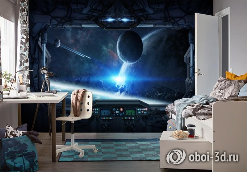 3D Фотообои «Вид из иллюминатора звездного корабля» вид 4