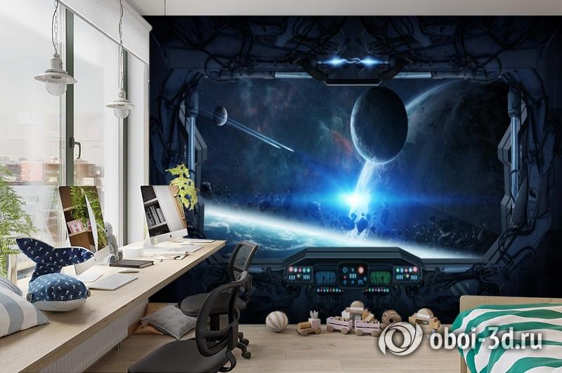 3D Фотообои «Вид из иллюминатора звездного корабля» вид 3