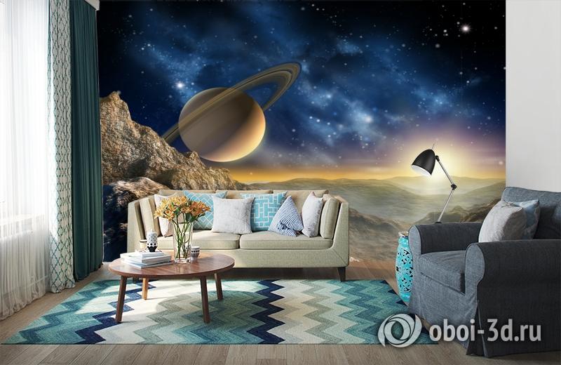 3D Фотообои «Огромный астероид с видом на сатурн» вид 6