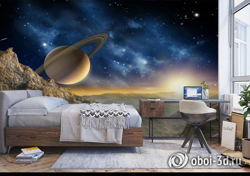 3D Фотообои «Огромный астероид с видом на сатурн» вид 5