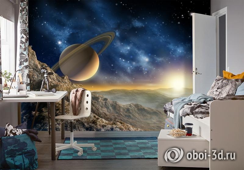 3D Фотообои «Огромный астероид с видом на сатурн» вид 4