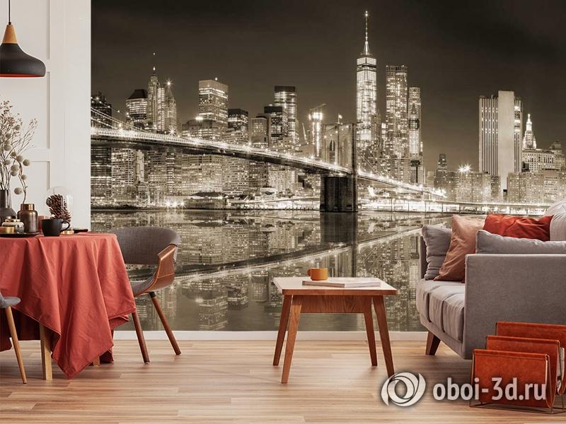 3D Фотообои «Бруклинский мост сепия» вид 10