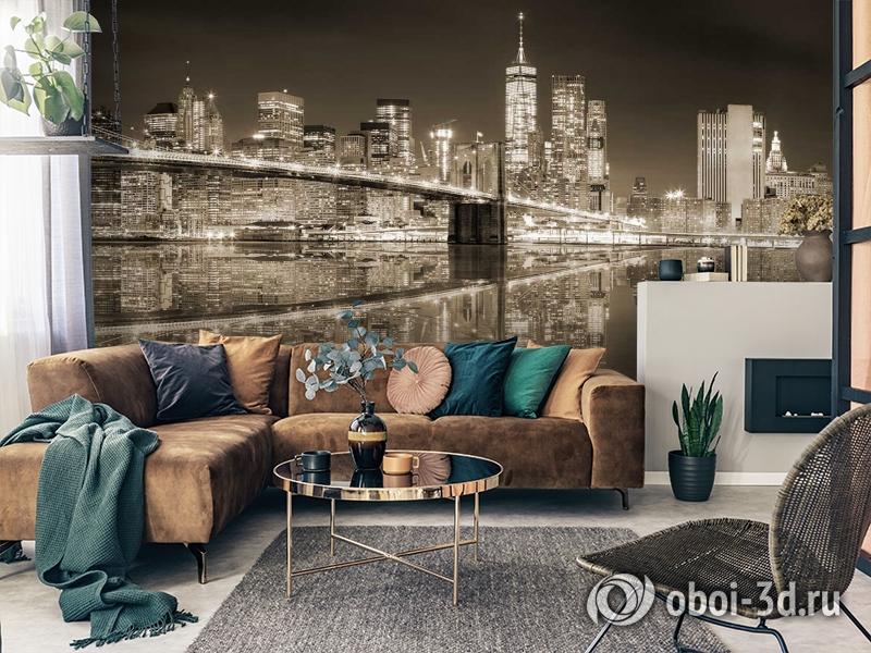 3D Фотообои «Бруклинский мост сепия» вид 7