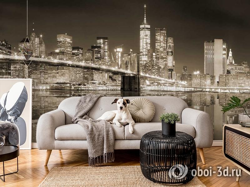 3D Фотообои «Бруклинский мост сепия» вид 4