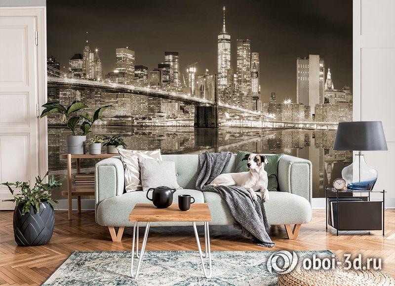 3D Фотообои «Бруклинский мост сепия» вид 3