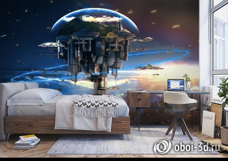 3D Фотообои «Футуристический космический замок» вид 5