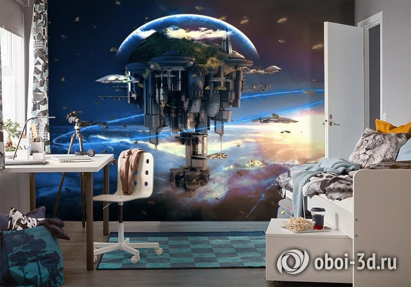3D Фотообои «Футуристический космический замок» вид 4