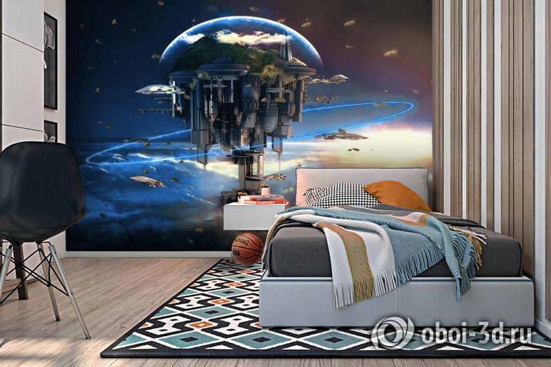 3D Фотообои «Футуристический космический замок» вид 2