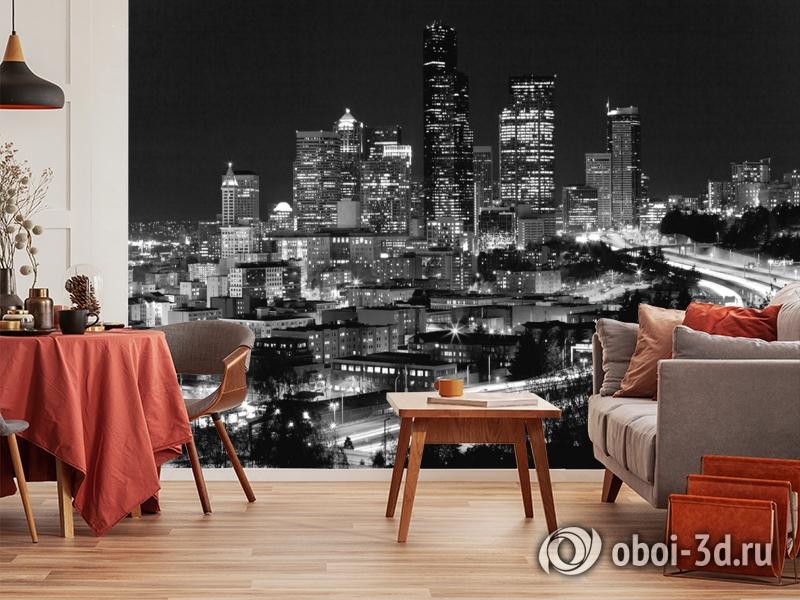 3D Фотообои «Ночной город черно-белые» вид 10