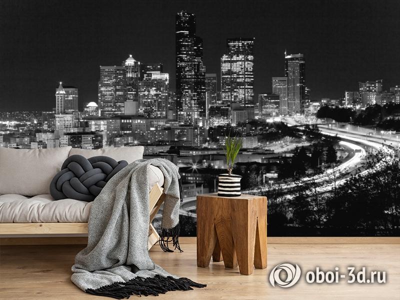 3D Фотообои «Ночной город черно-белые» вид 5