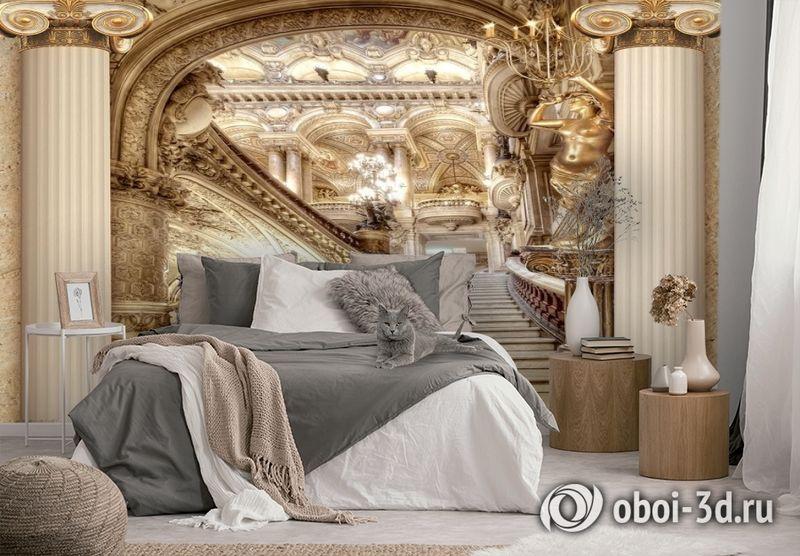 3D Фотообои «Лестница в богатом замке» вид 2