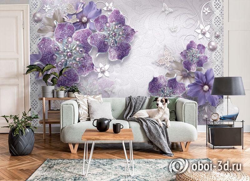 3D Фотообои «Ювелирные фиолетовые цветы» вид 8
