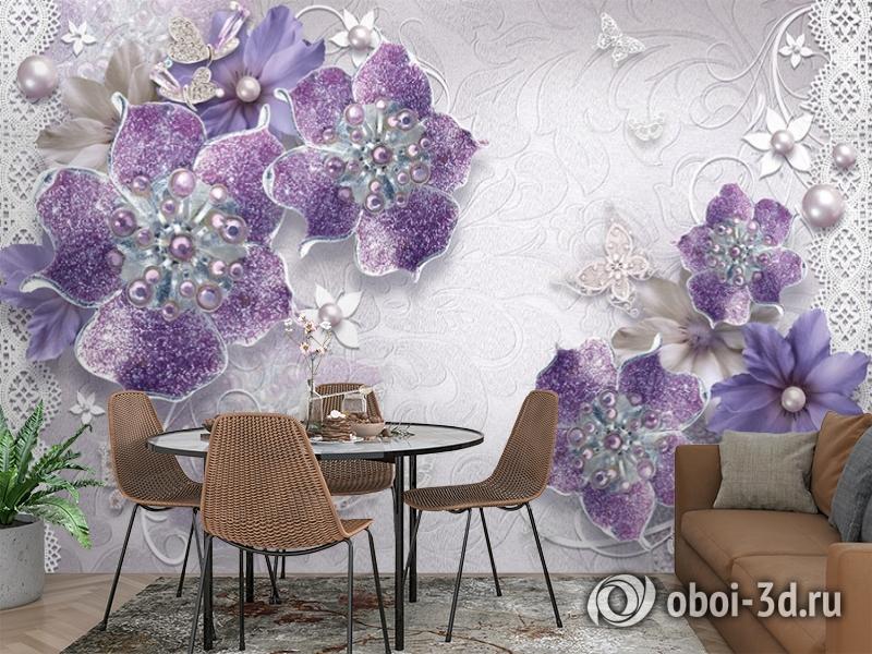 3D Фотообои «Ювелирные фиолетовые цветы» вид 3