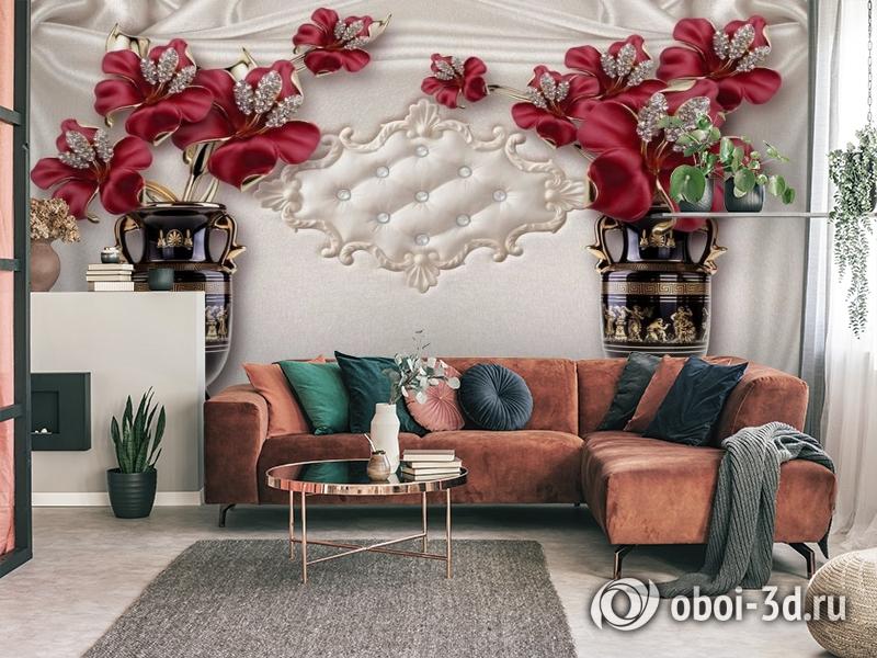 3D Фотообои «Инсталляция с античными вазами» вид 4