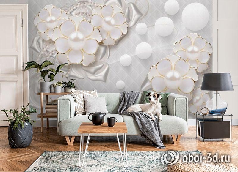 3D Фотообои «Объемные цветы с жемчугом» вид 8