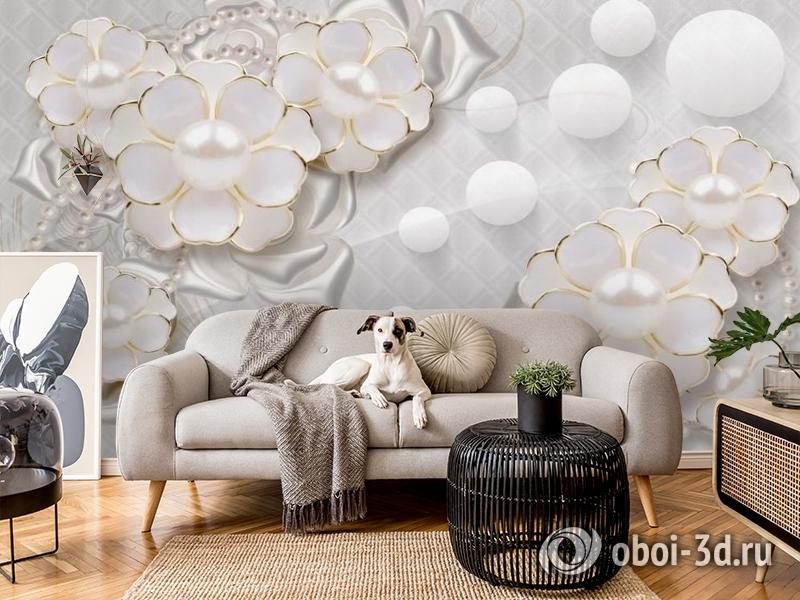 3D Фотообои «Объемные цветы с жемчугом» вид 5