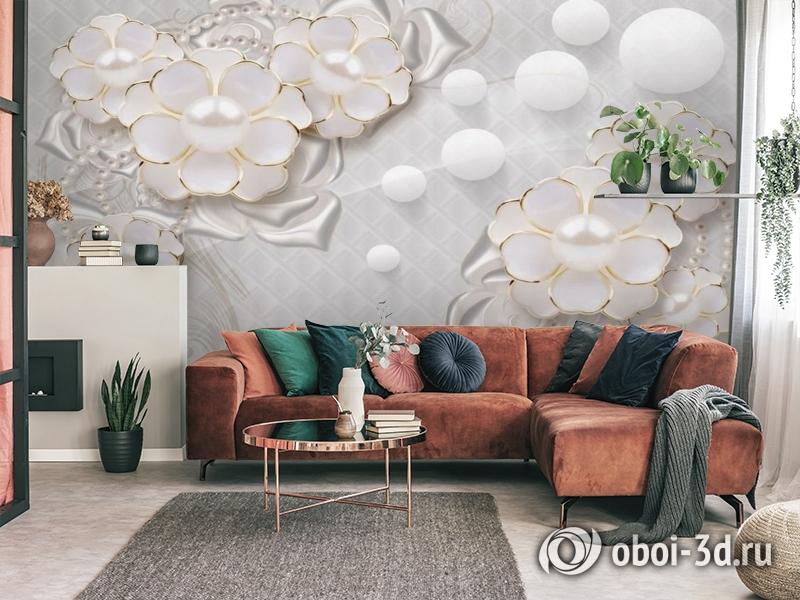 3D Фотообои «Объемные цветы с жемчугом» вид 4