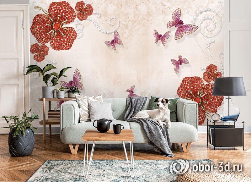 3D Фотообои «Композиция с ювелирными бабочками» вид 8