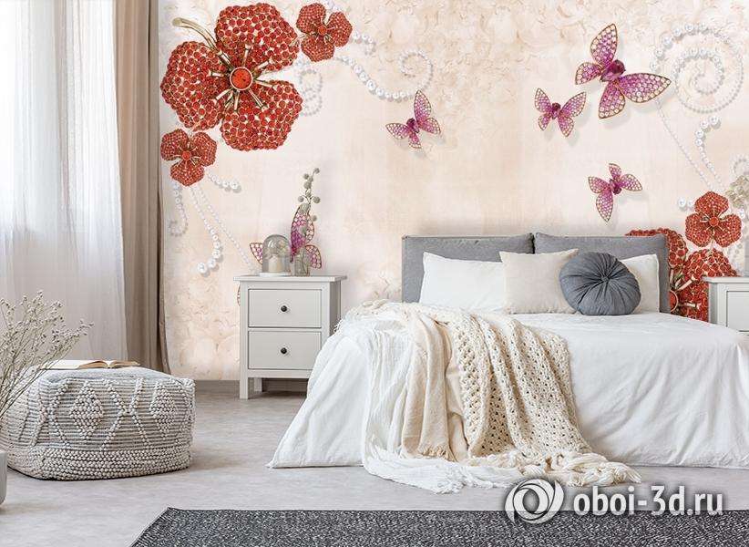3D Фотообои «Композиция с ювелирными бабочками» вид 6
