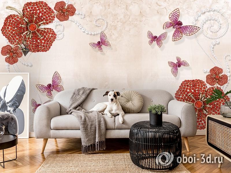 3D Фотообои «Композиция с ювелирными бабочками» вид 5
