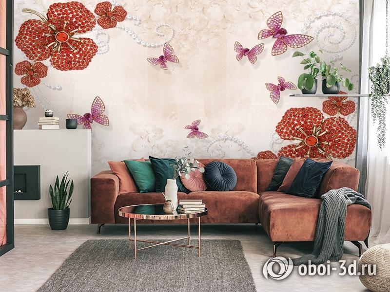 3D Фотообои «Композиция с ювелирными бабочками» вид 4