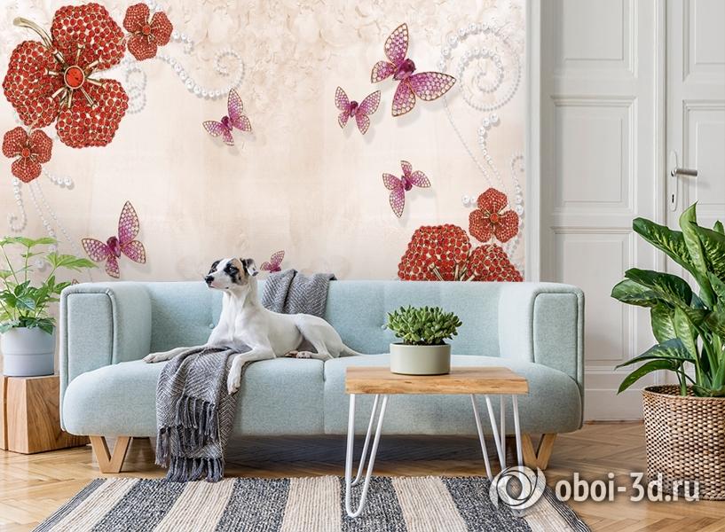 3D Фотообои «Композиция с ювелирными бабочками» вид 2