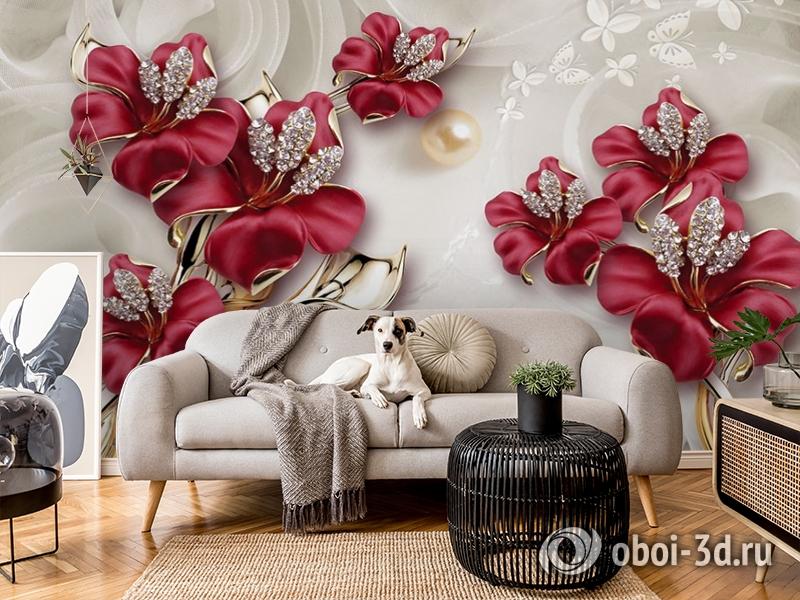 3D Фотообои «Драгоценные лилии» вид 5