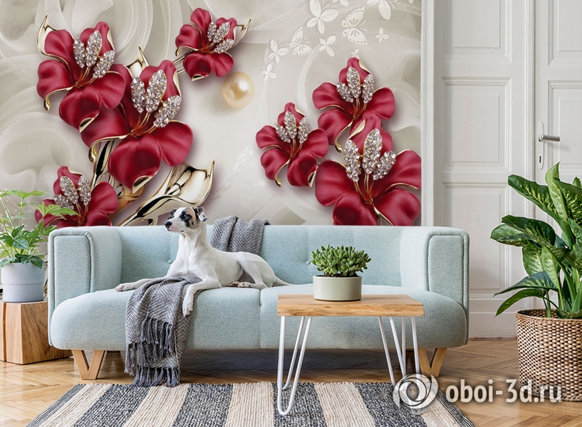 3D Фотообои «Драгоценные лилии» вид 2