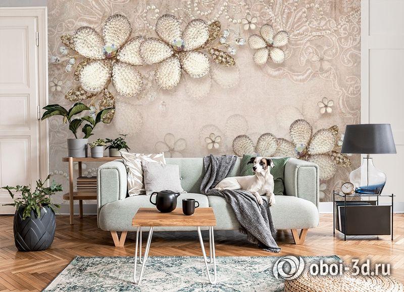 3D Фотообои «Ювелирные цветы с сияющими камнями» вид 8