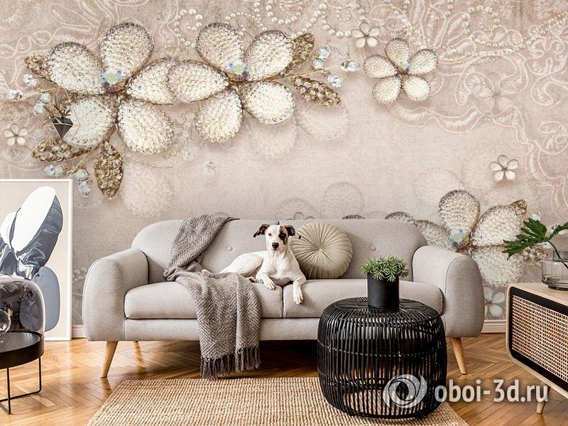3D Фотообои «Ювелирные цветы с сияющими камнями» вид 5