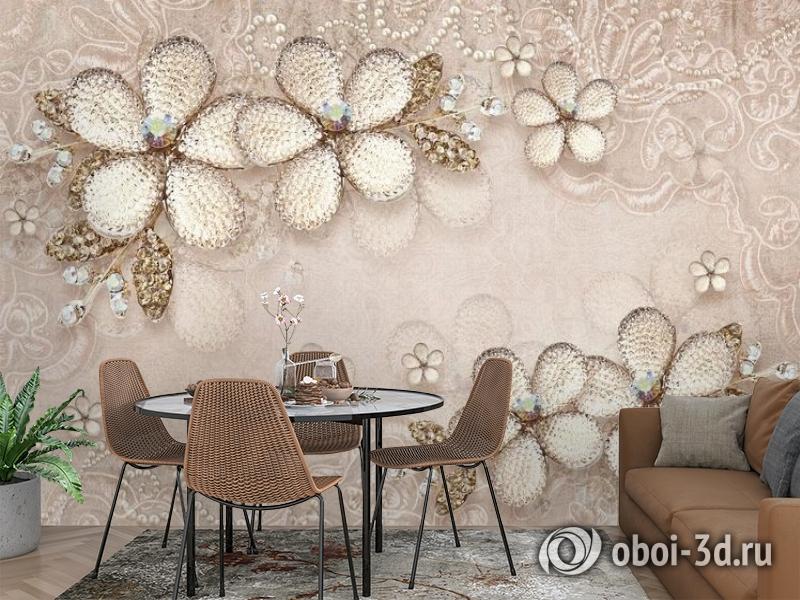 3D Фотообои «Ювелирные цветы с сияющими камнями» вид 3