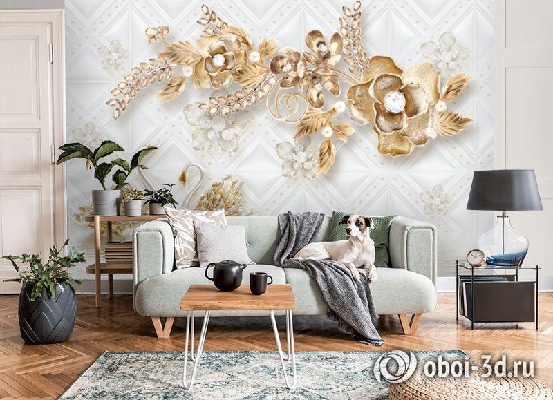 3D Фотообои «Роскошные ювелирные цветы с лебедями» вид 8