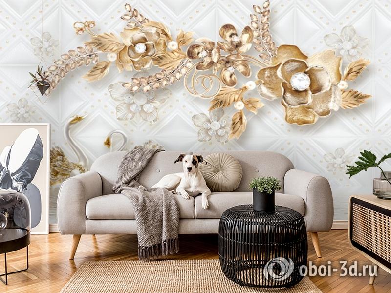 3D Фотообои «Роскошные ювелирные цветы с лебедями» вид 5