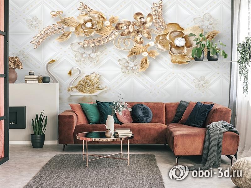 3D Фотообои «Роскошные ювелирные цветы с лебедями» вид 4