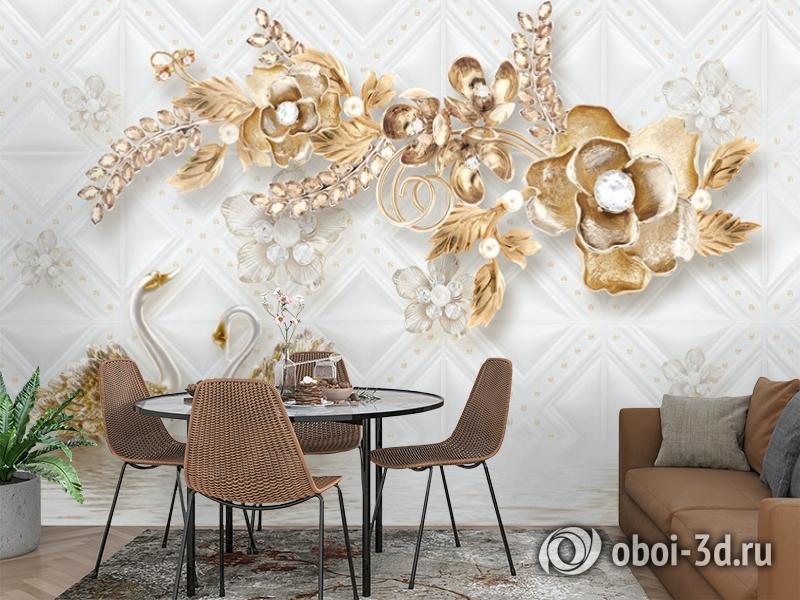 3D Фотообои «Роскошные ювелирные цветы с лебедями» вид 3