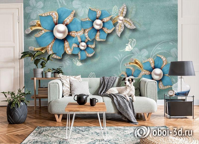 3D Фотообои «Синие цветы с жемчугом» вид 8