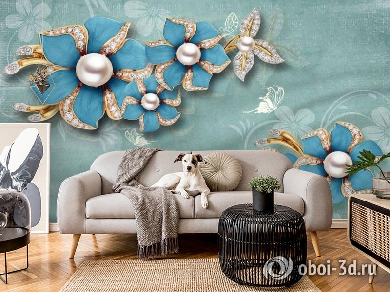 3D Фотообои «Синие цветы с жемчугом» вид 5