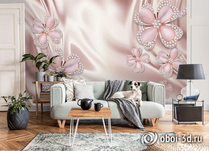 3D Фотообои «Клевер с бриллиантами в нежно-розовых тонах» вид 8