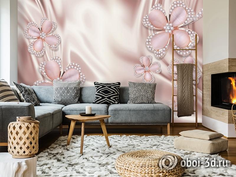 3D Фотообои «Клевер с бриллиантами в нежно-розовых тонах» вид 7