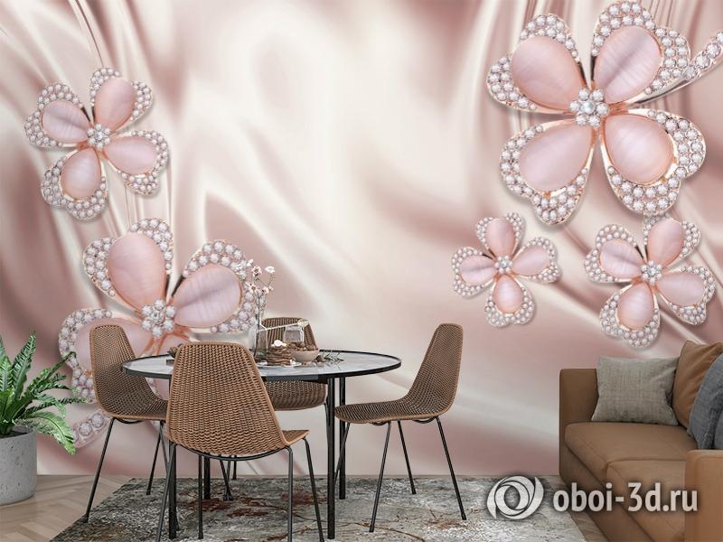 3D Фотообои «Клевер с бриллиантами в нежно-розовых тонах» вид 3