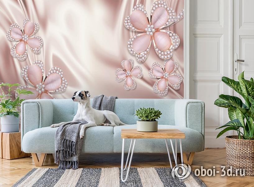 3D Фотообои «Клевер с бриллиантами в нежно-розовых тонах» вид 2